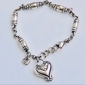 "Brighton Silver Heart Bracelet 7"" Pristine"